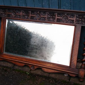 Carved Oak 1920s Mirror