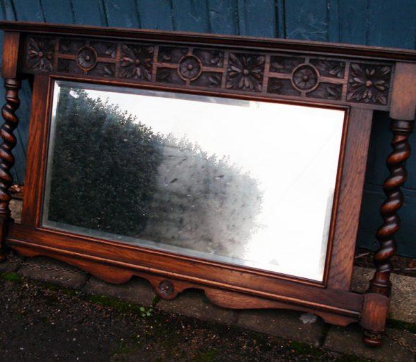 Carved Oak 1920s Mirror
