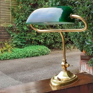 Desk lamp with green glass shade